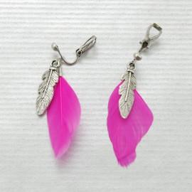 Boucles d'oreilles clips fluo rose M46