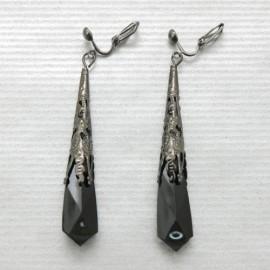 Boucles d'oreilles clips noires pendantes G31