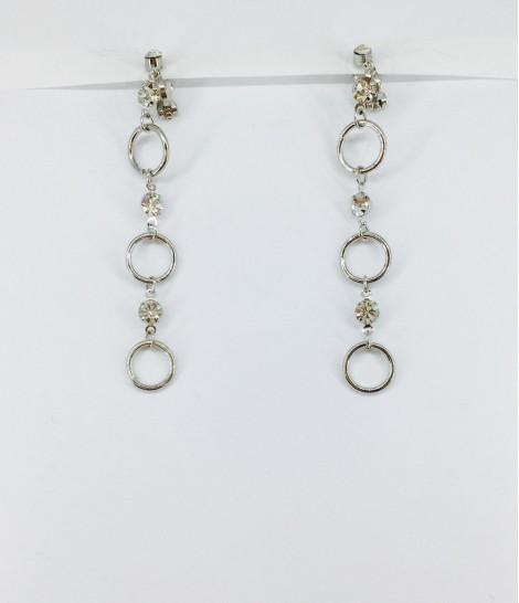 boucles d'oreilles clips anneaux et strass