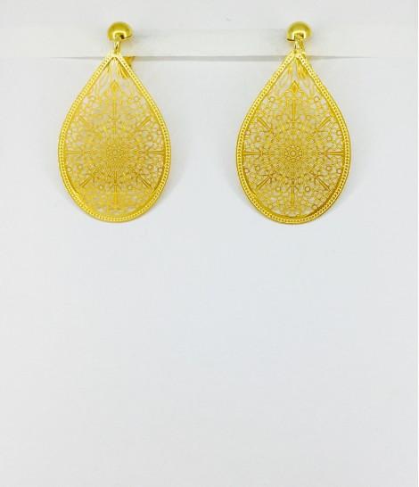 Boucles d'oreilles clips filigrane doré M38
