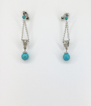 Boucles d'oreilles clips turquoise