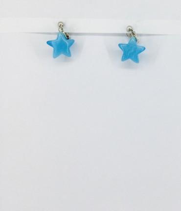boucles d'oreilles clips étoile bleue  P22